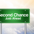 Second Chance Just Ahead Green Road Sign, business concep — Stock fotografie #65770277