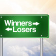 Winners, Losers Green Road Sign, business concep — Stock Photo #65771237