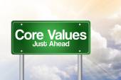 Core Values Just Ahead Green Road Sign, business concep — Stock Photo