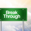 Break Through Green Road Sign, business concep — Stock Photo #65782911