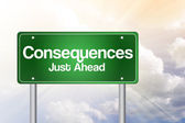 Consequences Just Ahead Green Road Sign, Business Concep — Stock Photo