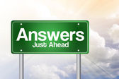Answers, Just Ahead Green Road Sign, Business Concep — Stock Photo
