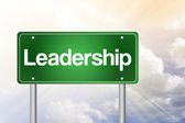Leadership Green Road Sign, business concep — Stock Photo
