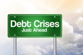 Debt Crises Green Road Sign, business concep — Stock Photo