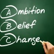 Hand drawn Ambition Belief Change (ABC), business concept on bla — Stock Photo #65967723