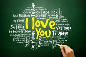 """Hand drawn love words """"I love you"""" in all languages of the world — Stock Photo"""