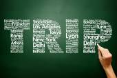 TRIP travel concept made with words cities names, business conce — Stock Photo