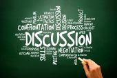 Discussion business concept words cloud, presentation background — Stock Photo