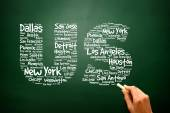 US letters with cities names words cloud, presentation backgroun — Stock Photo