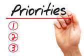 Hand writing Priorities List, business concep — Stock fotografie