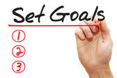 Hand writing Set Goals List, business concep — Stock Photo