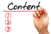 Hand writing Content List, business concep — Stockfoto