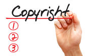 Hand writing Copyright List, business concep — Stock Photo