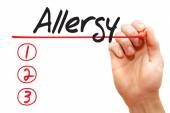 Hand writing Allergy List concep — Stock Photo