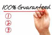 Ręka pisze 100% gwarantowana listy, biznes concep — Zdjęcie stockowe