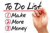 W zapasie pismo zrobić więcej pieniędzy na liście zrobić, koncepcja biznesowa — Zdjęcie stockowe
