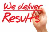 Hand writing We deliver Results, business concept — Stock Photo
