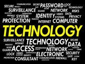 Teknoloji kelime bulutu — Stok Vektör