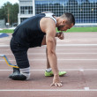 Постер, плакат: Start position of athlete with handicap