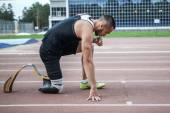 Start position of athlete with handicap — Stock Photo