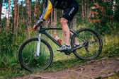 Mountainbiker in the mountains by downhill — Stock Photo