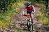 Mountainbiker in a downhill the mountain — Stock Photo
