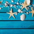 Sea. Delicate nautical border with fishing net, sea shells and starfish on a background of colourful turquoise blue painted wooden boards with copyspace for your text — Stock Photo #69639631