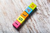 Islam. Word islam on colorful wooden cubes — Stock Photo