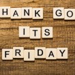 Friday. Thank God Its Friday card with colorful background with defocused lights — Stock Photo #70495969