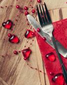 Day. Valentines Day table setting with red heart decoration — Stock Photo