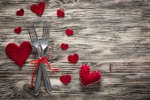 Anniversary. Restaurant series. Valentines day dinner with table setting in rustic wood style with cutlery — Stock Photo