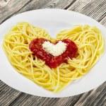 Spaghetti, Pasta, Heart Shape. — Stock Photo #73941063