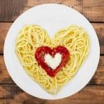 Spaghetti, Pasta, Heart Shape. — Stock Photo #73949373