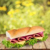 Sandwich, buchta, rychlé občerstvení. — Stock fotografie