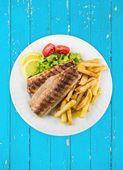 Fish, French Fries, Grilled. — Stock Photo