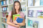 Student, Teenager, Library. — Stock Photo