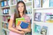 Student, Teenager, Library. — Stockfoto