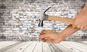 Hammer, Human Hand, Craftsperson. — Stock Photo