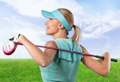 Golf, Female, Pink. — Stock Photo