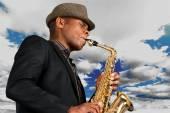 Jazz, Saxophone, African Descent. — Stock Photo