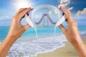 Scuba Mask, Beach, Swimming Goggles. — Stock Photo