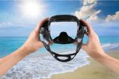 Scuba Mask, Beach, Swimming Goggles. — Stock Photo