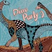 Dino party - decorative card with zentangle elements — Stock Vector