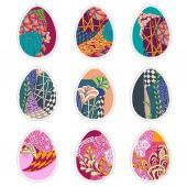 Set of nine Easter eggs with Zentangle ornament — Stock Vector