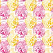Easter eggs red & yellow seamless pattern on white background — Cтоковый вектор #66689423