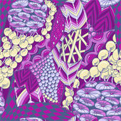 Seamless pattern with flower elements in purple colors with grey — Stock Vector