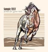 Horse woodcut 03 — Stock Vector