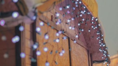Christmas illuminations on the house — Stock Video