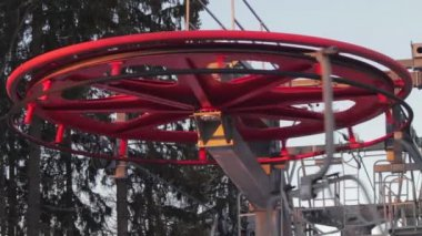Ski lift in the work — Video Stock