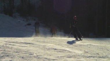 Skier rides on the ski track.  Slow motion — Stok video